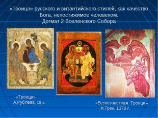 «Троица» русского и византийского стилей, как качество Бога, непостижимое чел