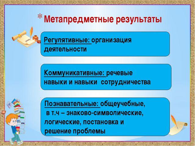 Метапредметные результаты Регулятивные: организация деятельности Коммуникатив...