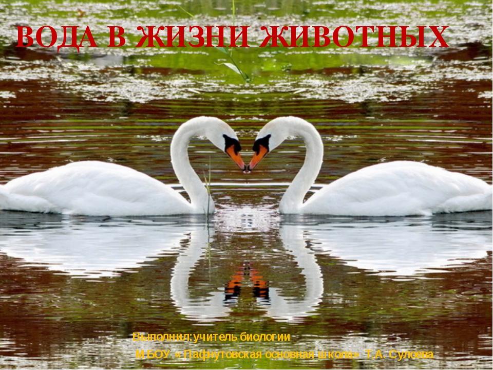 Вода в жизни животных Выполнил:учитель биологии МБОУ « Пафнутовская основная...