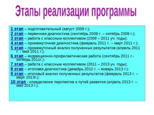 1 этап – подготовительный (август 2009 г.); 2 этап – первичная диагностика (с
