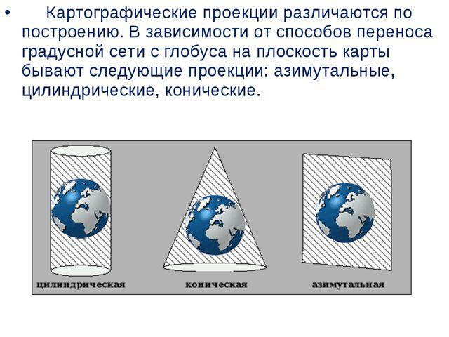 Картографические проекции различаются по построению. Взависимости от сп...