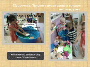 Поручение. Трудовое воспитание в группе: мытье игрушек Хозяйственно-бытовой т