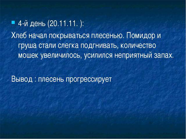 4-й день (20.11.11. ): Хлеб начал покрываться плесенью. Помидор и груша стали...
