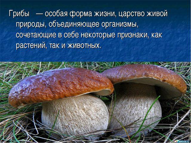 Грибы́ — особая форма жизни, царство живой природы, объединяющее организмы, с...