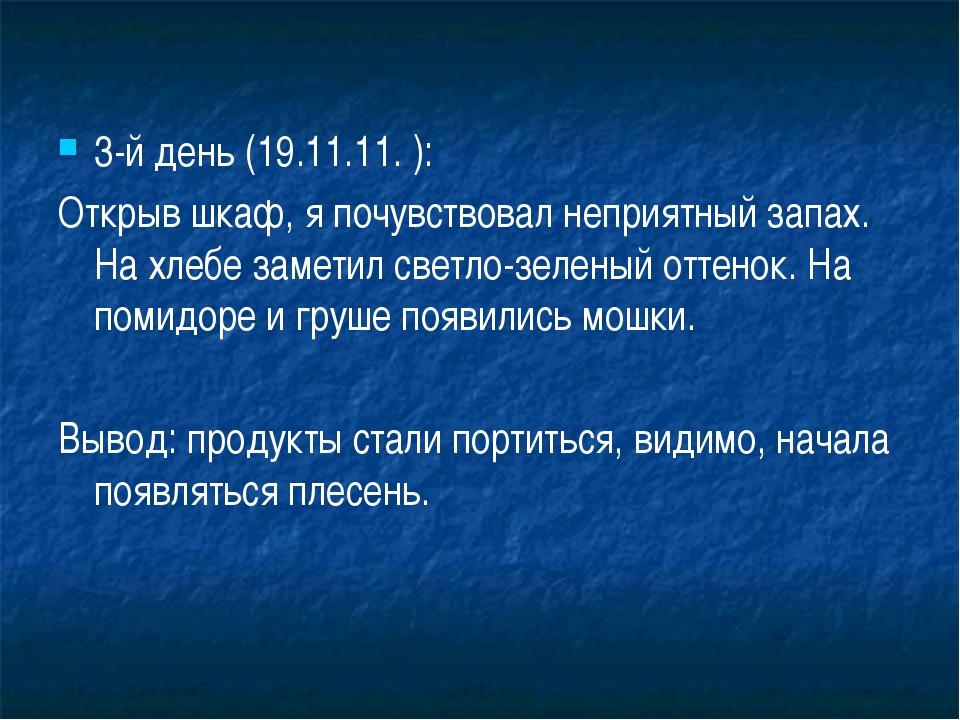 3-й день (19.11.11. ): Открыв шкаф, я почувствовал неприятный запах. На хлебе...