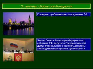 От военных сборов освобождаются Граждане, пребывающие за пределами РФ Члены С
