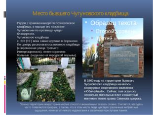 Место бывшего Чугуновского кладбища Рядом с храмом находится Вознесенское кла