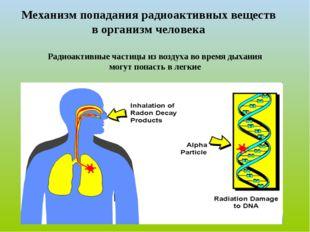 Механизм попадания радиоактивных веществ в организм человека Радиоактивные ча