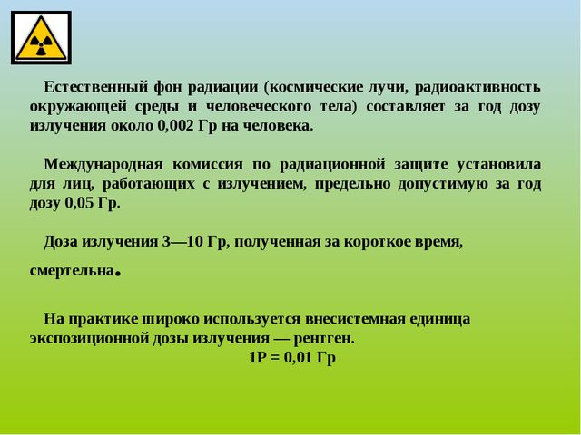 Естественный фон радиации (космические лучи, радиоактивность окружающей сред...