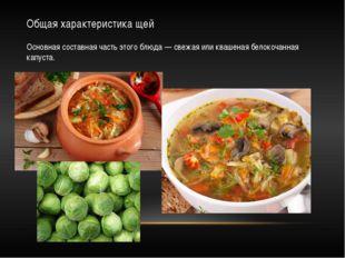 Общая характеристика щей Основная составная часть этого блюда — свежая или кв