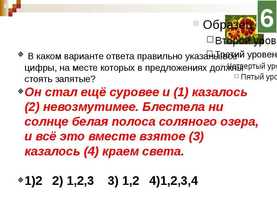 6 В каком варианте ответа правильно указаны все цифры, на месте которых в пр...