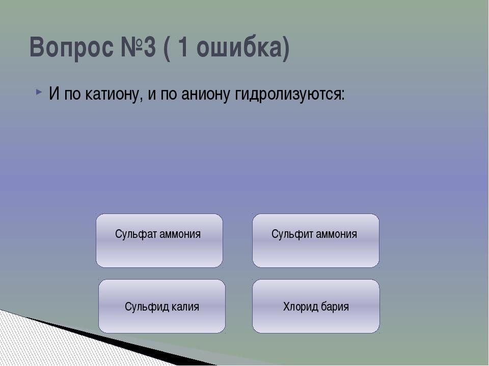 Не подвергается гидролизу: Вопрос №4 ( 3 ошибки) Хлорид бария Нитрат аммония...