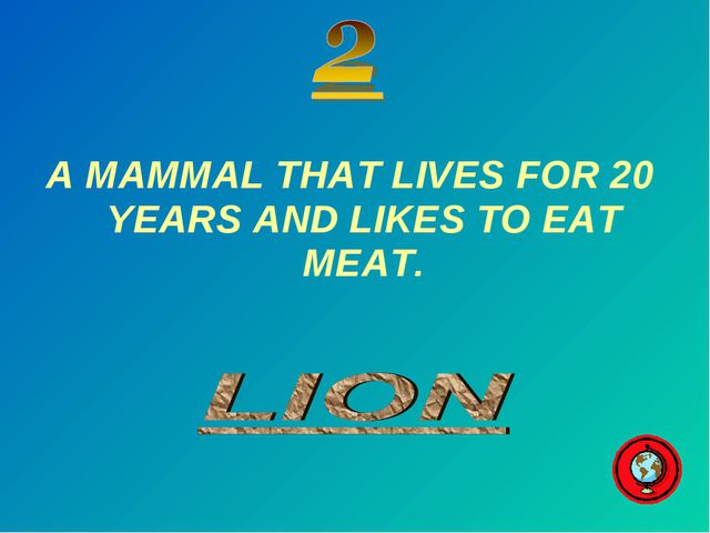 A MAMMAL THAT LIVES FOR 20 YEARS AND LIKES TO EAT MEAT.