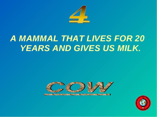 A MAMMAL THAT LIVES FOR 20 YEARS AND GIVES US MILK.