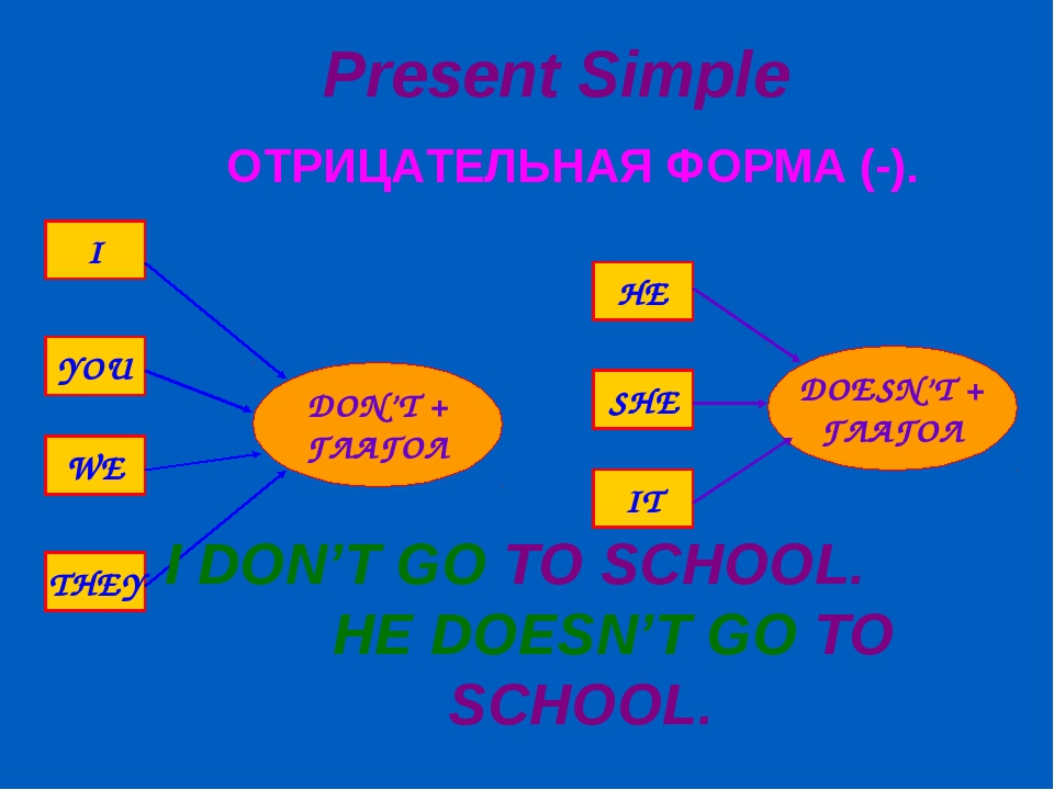 Present Simple ОТРИЦАТЕЛЬНАЯ ФОРМА (-). I DON'T GO TO SCHOOL. HE DOESN'T GO T...