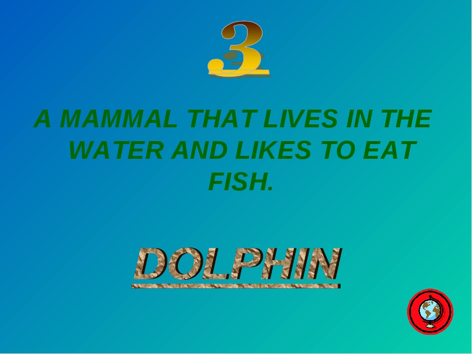 A MAMMAL THAT LIVES IN THE WATER AND LIKES TO EAT FISH.