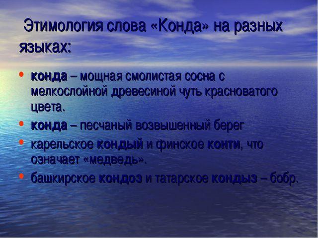 Этимология слова «Конда» на разных языках: конда – мощная смолистая сосна с...