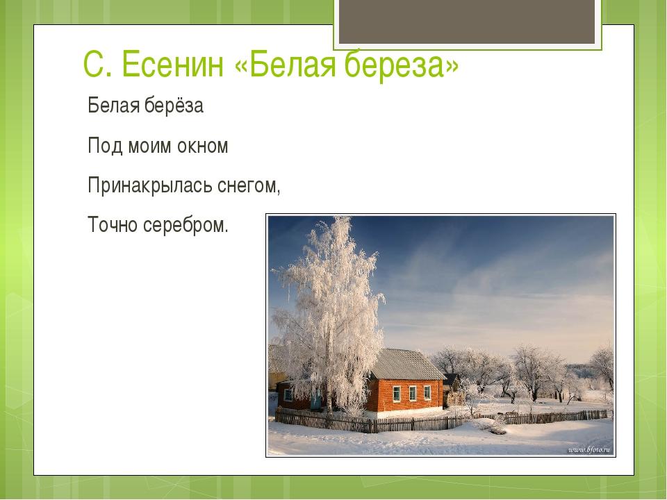 С. Есенин «Белая береза» Белая берёза Под моим окном Принакрылась снегом, Точ...