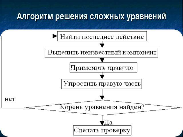 Алгоритм решения сложных уравнений Алгоритм решения сложных уравнений