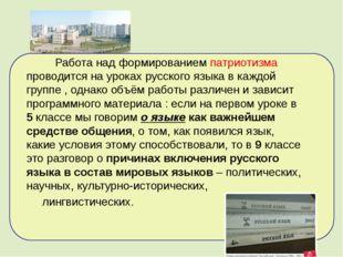 Работа над формированием патриотизма проводится на уроках русского языка в к
