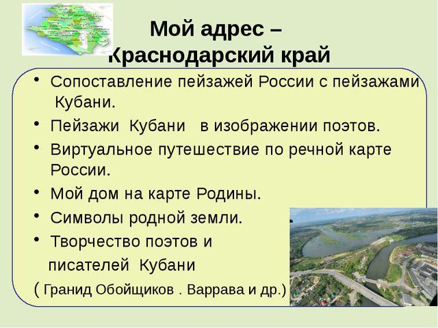 Мой адрес – Краснодарский край Сопоставление пейзажей России с пейзажами Куб...