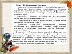 Раздел 1. Профессиональное образование Наличие образования по профилю п