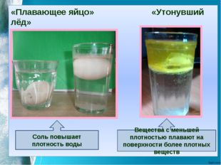 «Плавающее яйцо» «Утонувший лёд» Соль повышает плотность воды Вещества с мень