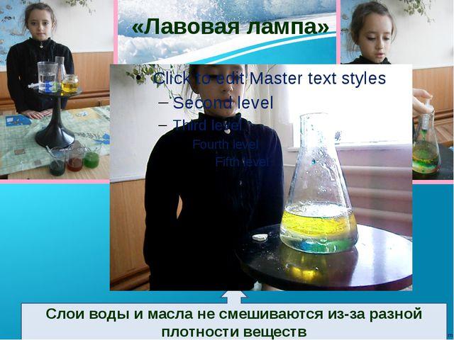 «Лавовая лампа» Слои воды и масла не смешиваются из-за разной плотности веще...