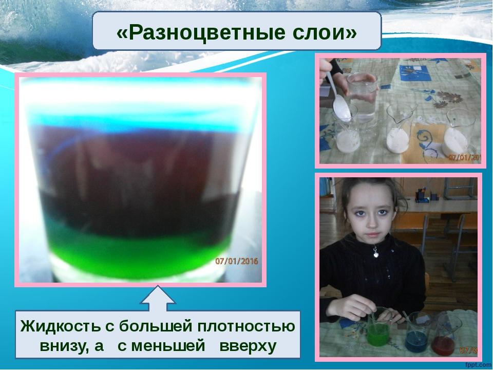 Жидкость с большей плотностью внизу, а с меньшей вверху «Разноцветные слои»