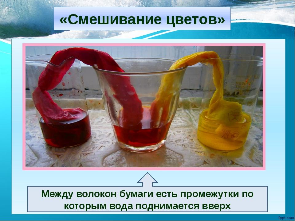 «Смешивание цветов» Между волокон бумаги есть промежутки по которым вода подн...