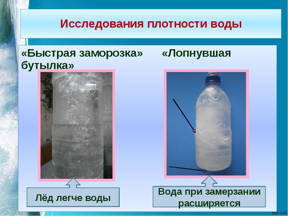 Исследования плотности воды «Быстрая заморозка» «Лопнувшая бутылка» Лёд легче...