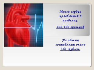 Масса сердца колеблется в пределах 200-400 граммов По объему составляет около