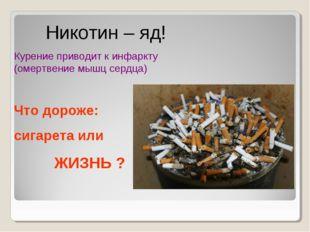 Никотин – яд! Курение приводит к инфаркту (омертвение мышц сердца) Что дорож