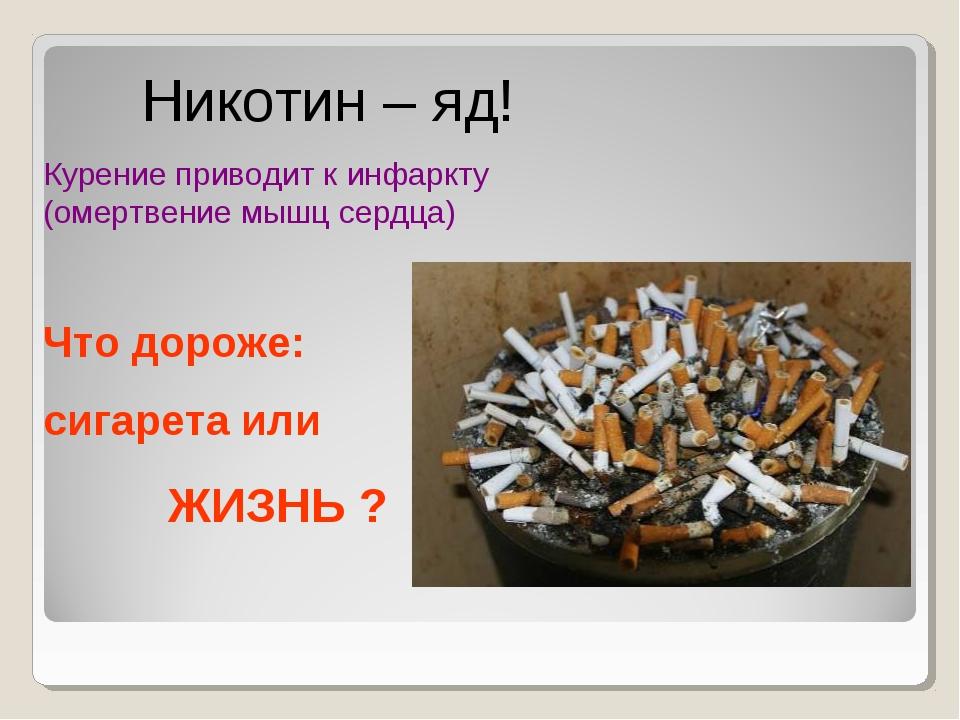 Никотин – яд! Курение приводит к инфаркту (омертвение мышц сердца) Что дорож...
