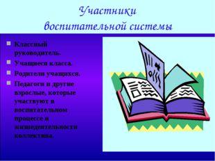 Участники воспитательной системы Классный руководитель. Учащиеся класса. Род