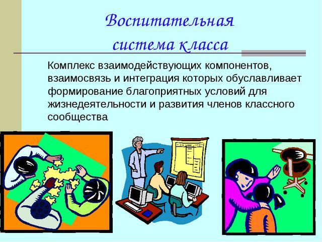 Воспитательная система класса Комплекс взаимодействующих компонентов, взаимо...