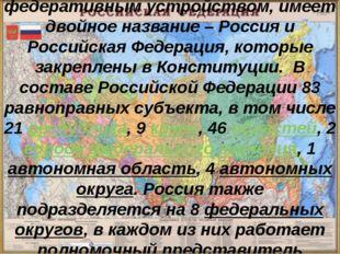 Россия - государство с федеративным устройством, имеет двойное название – Рос