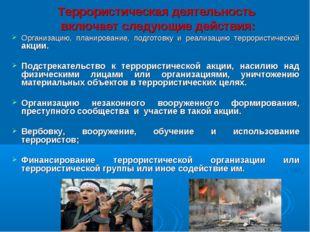 Террористическая деятельность включает следующие действия: Организацию, план