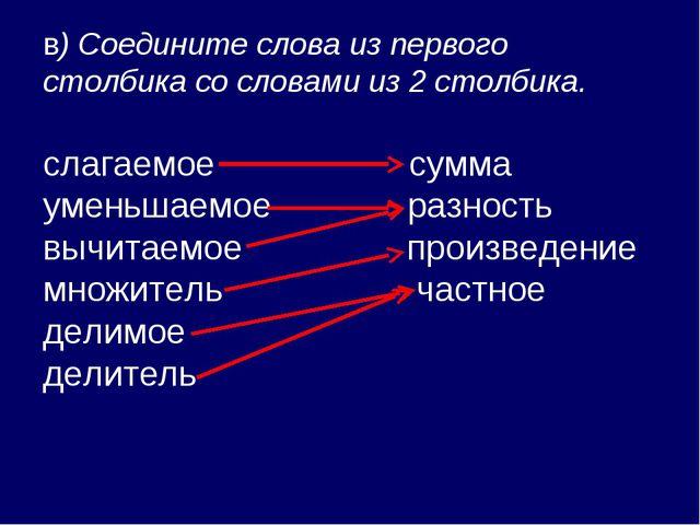 в) Соедините слова из первого столбика со словами из 2 столбика. слагаемое су...