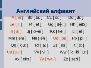 Английский алфавит A [ ei ] Bb [ bi: ] Cc [ si: ] Dd [ di: ] Ee [ i: ] Ff [ e