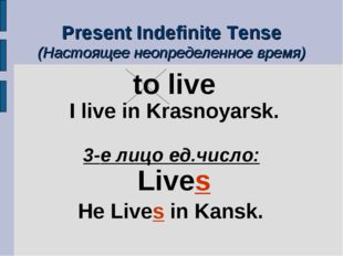 Present Indefinite Tense (Настоящее неопределенное время) to live I live in K