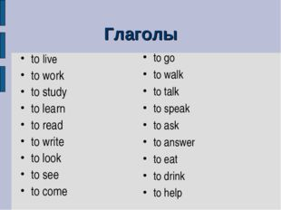 Глаголы to live to work to study to learn to read to write to look to see to