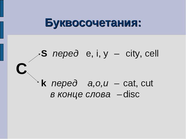 Буквосочетания:  S перед e, i, y – city, cell C k перед a,o,u–...