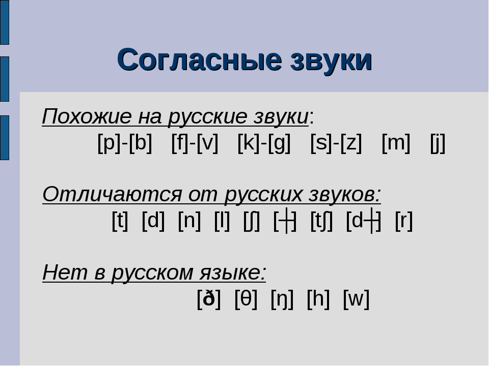 Согласные звуки Похожие на русские звуки: [p]-[b] [f]-[v] [k]-[g] [s]-[z] [m]...