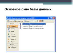 Основное окно базы данных.