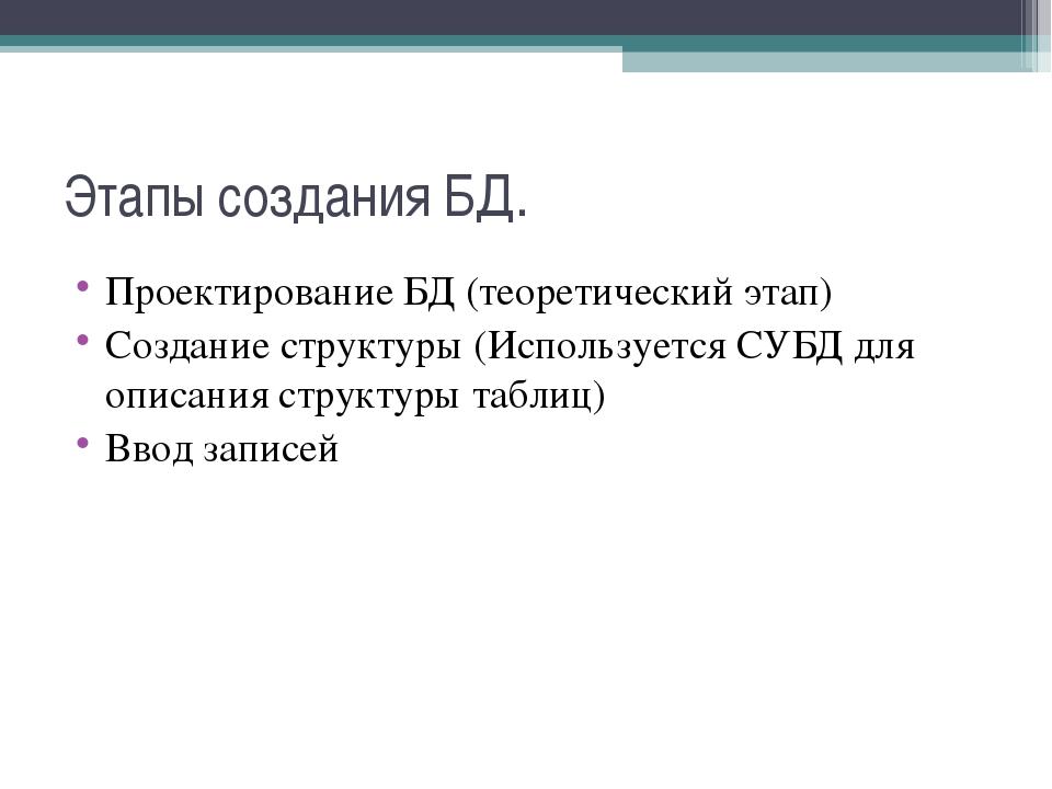 Этапы создания БД. Проектирование БД (теоретический этап) Создание структуры...