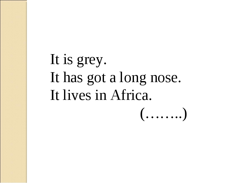 It is grey. It has got a long nose. It lives in Africa. (……..)
