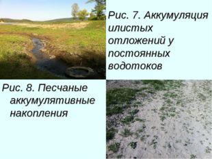 Рис. 7. Аккумуляция илистых отложений у постоянных водотоков Рис. 8. Песчаные