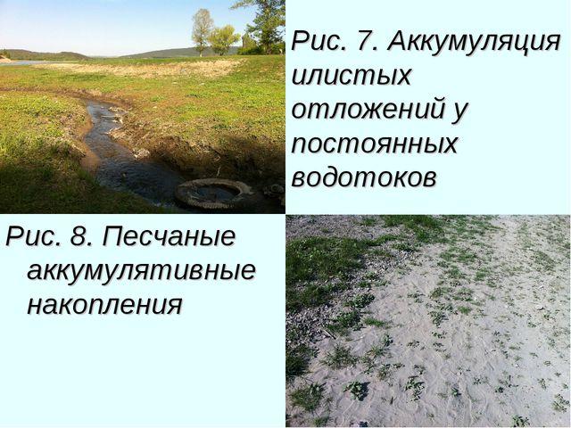 Рис. 7. Аккумуляция илистых отложений у постоянных водотоков Рис. 8. Песчаные...