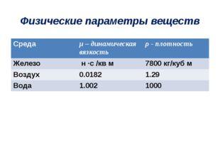 Физические параметры веществ Среда μ– динамическая вязкость ρ- плотность Желе
